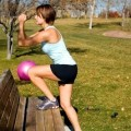 Step ups on park bench